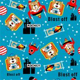 Seamless pattern,astronaut bear funny animal cartoon,vector illustration. Seamless pattern funny animal cartoon,vector illustration for t shirt and wallpaper or stock illustration