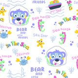 Seamless pattern,bear and little friend funny animal cartoon,vector illustration. Seamless pattern funny animal cartoon,vector illustration for t shirt and vector illustration