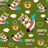 Seamless pattern,bear the pilot funny animal cartoon,vector illustration. Seamless pattern funny animal cartoon,vector illustration for t shirt and wallpaper or stock illustration