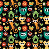 Seamless pattern with funny animals stock illustration