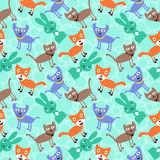 Seamless pattern with funny animals Stock Images