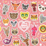 Seamless pattern Funny Animals White heart on pink Polka dot background. Happy birthday. Vector Royalty Free Stock Photos
