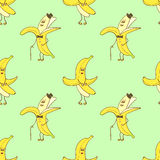 Seamless pattern with funny banana characters. Stock Photos