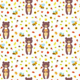 Seamless pattern with funny bears and bees. Royalty Free Stock Photography