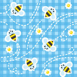 Seamless pattern with funny bees Stock Photography