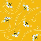 Seamless pattern with funny bees Royalty Free Stock Images