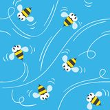 Seamless pattern with funny bees Royalty Free Stock Photography