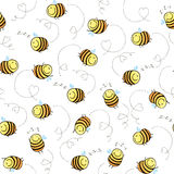 Seamless pattern of funny bees Stock Photos