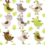 Seamless pattern with funny birds vector illustration