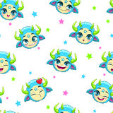Seamless pattern with funny blue monster faces Stock Image