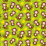 Seamless pattern with funny brown monkey, yellow Royalty Free Stock Photography