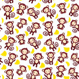 Seamless pattern with funny brown monkey, yellow bananas, boys and girls on white background.  Stock Image