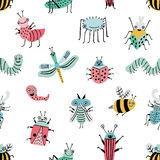 Seamless pattern with funny bug. Background with happy cartoon insects. Colorful hand drawn print. Stock Image