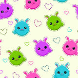 Seamless pattern with funny bunny faces Royalty Free Stock Images