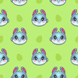 Seamless pattern with funny bunny faces and eggs Royalty Free Stock Photography