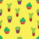 Seamless pattern with funny cactus Royalty Free Stock Photography
