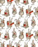 Seamless pattern with funny cartoon Bunnies. Drawing watercolor and ink. Hand-drawn illustration vector illustration