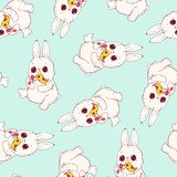 Seamless pattern with funny cartoon Bunnies. Hand-drawn illustration. Vector royalty free illustration