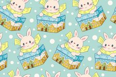 Seamless pattern with funny cartoon Bunnies. Hand-drawn illustration. Vector stock illustration