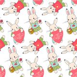 Seamless pattern with funny cartoon Bunnies. Hand-drawn illustration. Vector vector illustration