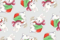 Seamless pattern with funny cartoon Bunnies and a snowman. Drawing watercolor and ink. Hand-drawn illustration stock illustration