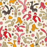 Seamless pattern of funny cartoon bunny rabbits Royalty Free Stock Photos