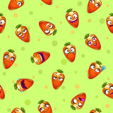 Seamless pattern with funny cartoon carrot characters. Royalty Free Stock Image