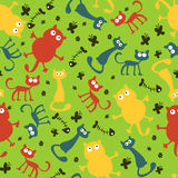 Seamless pattern with funny cartoon cats Stock Image