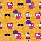 Seamless pattern with funny cartoon cats Stock Images