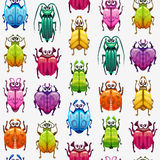 Seamless pattern with funny cartoon colorful bugs. Vector texture Royalty Free Stock Image