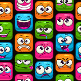 Seamless pattern with funny cartoon colorful faces Stock Photo