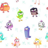 Seamless pattern with funny cartoon comic birds Stock Image