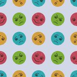 Seamless pattern with funny cartoon comic faces. Children`s drawing. Vector illustration. vector illustration