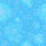 Seamless illustration with funny cartoon contour mouses ,the white outline on a blue background. Seamless pattern with funny cartoon contour mouses ,the  white Stock Photos