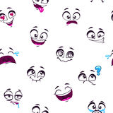 Seamless pattern with funny cartoon faces Royalty Free Stock Images