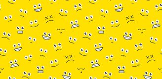 Seamless pattern with funny cartoon faces Stock Photos
