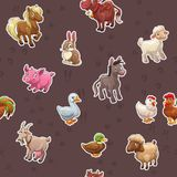 Seamless pattern with funny cartoon farm animals Royalty Free Stock Photo
