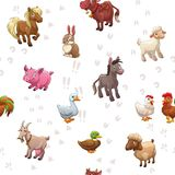 Seamless pattern with funny cartoon farm animals Royalty Free Stock Photos