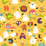 Seamless pattern ghosts and monsters halloween. Seamless pattern funny cartoon ghosts and monsters halloween vector illustration
