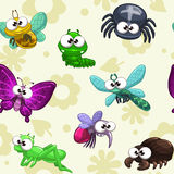 Seamless pattern with funny cartoon insects Royalty Free Stock Photo