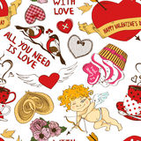 Seamless pattern with funny cartoon love elements Royalty Free Stock Photography