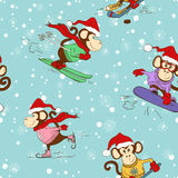 Seamless Pattern Of Funny Cartoon Monkey Doing Winter Sports. Stock Images