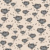 Seamless pattern with funny cartoon pigeons and feathers stock photos