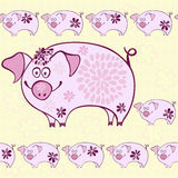 Seamless pattern - funny cartoon pigs. Cartoon pig on a floral background. Endless decorative background Royalty Free Stock Image