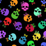 Seamless pattern of funny cartoon skulls Royalty Free Stock Photography