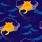 Seamless pattern with Funny cat and moon Royalty Free Stock Photo