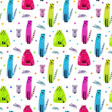 Seamless pattern of a funny cat. Royalty Free Stock Image