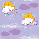 Seamless pattern with Funny cat and rainy cloud Royalty Free Stock Image
