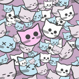 Seamless pattern with funny cats. Vector illustration Stock Image