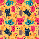 Seamless pattern with funny cats. Cute seamless pattern with funny cats